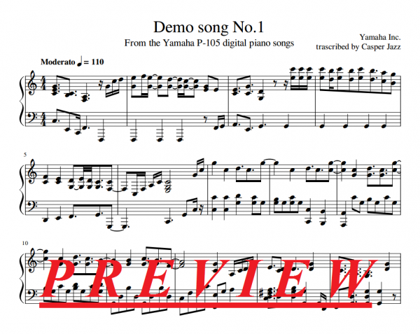 Yamaha P-105 first demo song preview image