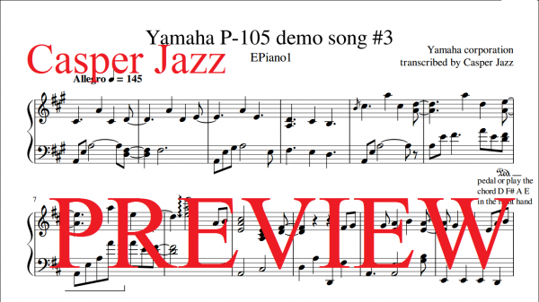 Ricky Reinaldi Broken Catalyst sheet music   Yamaha P-105 demo song 3 preview