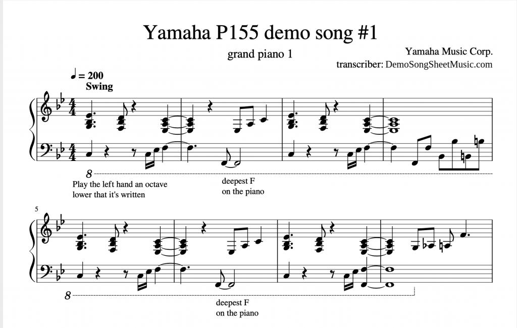 Example of created Yamaha demo song sheet music