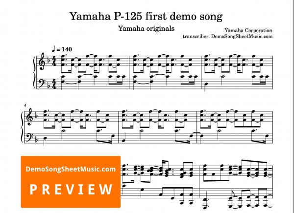 Yamaha P-125 first demo song 1 sheet music PDF